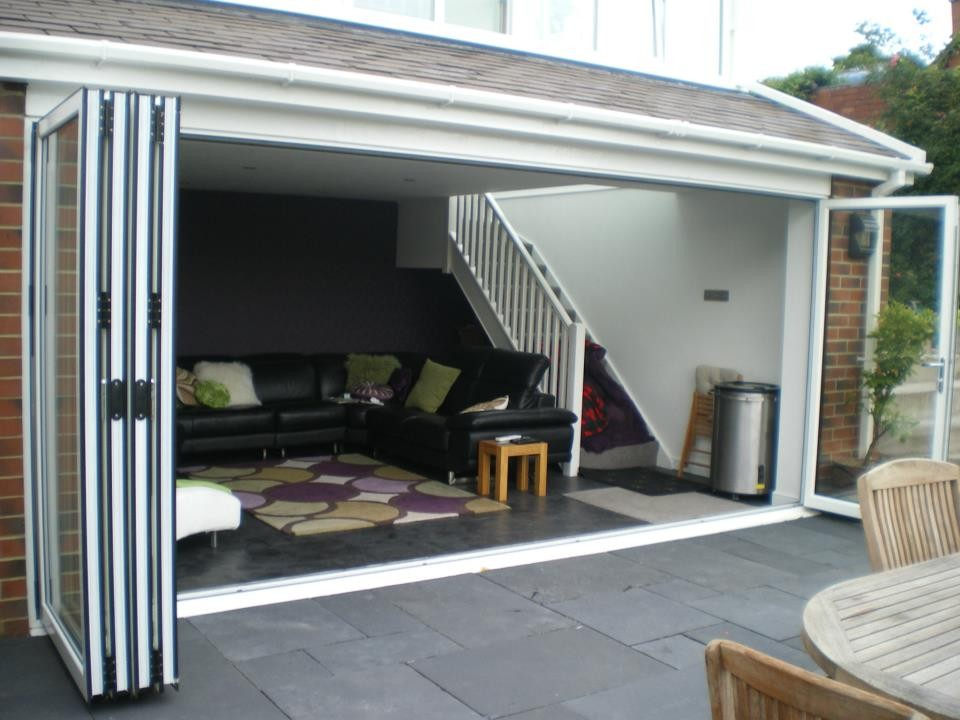 Aluminium bifold doors hinckley m a home improvements for Garden decking hinckley